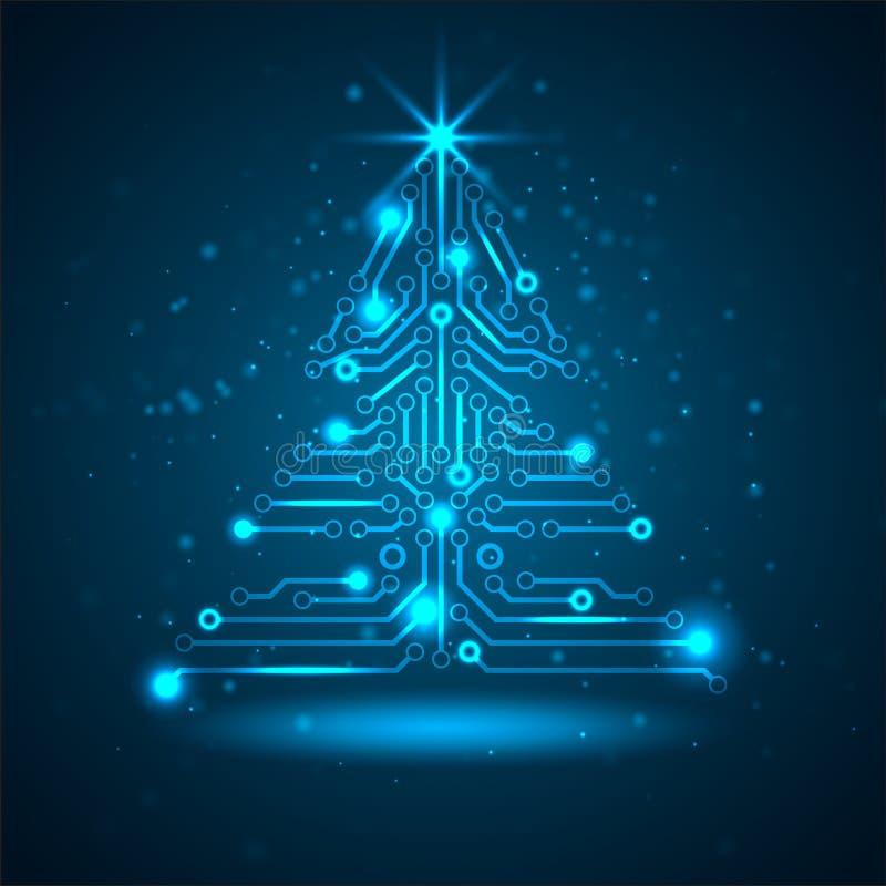 Αφηρημένο χριστουγεννιάτικο δέντρο τεχνολογίας. ελεύθερη απεικόνιση δικαιώματος