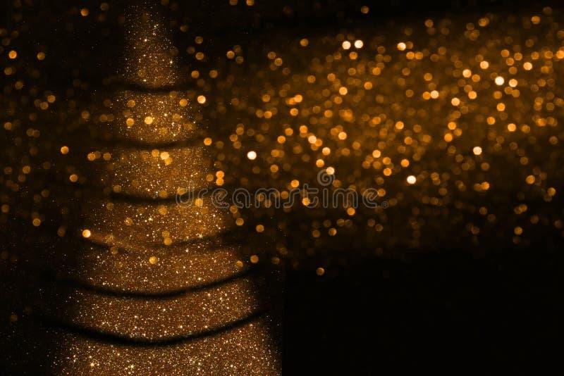 Αφηρημένο χρυσό και μαύρο υπόβαθρο φω'των Defocused στοκ φωτογραφίες με δικαίωμα ελεύθερης χρήσης