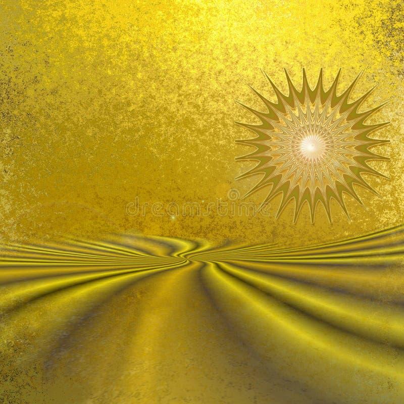 Αφηρημένο χρυσό τοπίο με την έρημο και τον ήλιο ελεύθερη απεικόνιση δικαιώματος