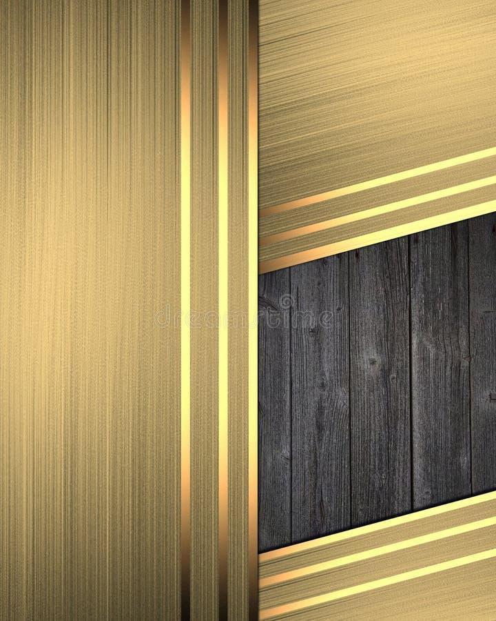 Αφηρημένο χρυσό υπόβαθρο με ένα ξύλινο ένθετο Πρότυπο για το σχέδιο διάστημα αντιγράφων για το φυλλάδιο αγγελιών ή την πρόσκληση  ελεύθερη απεικόνιση δικαιώματος