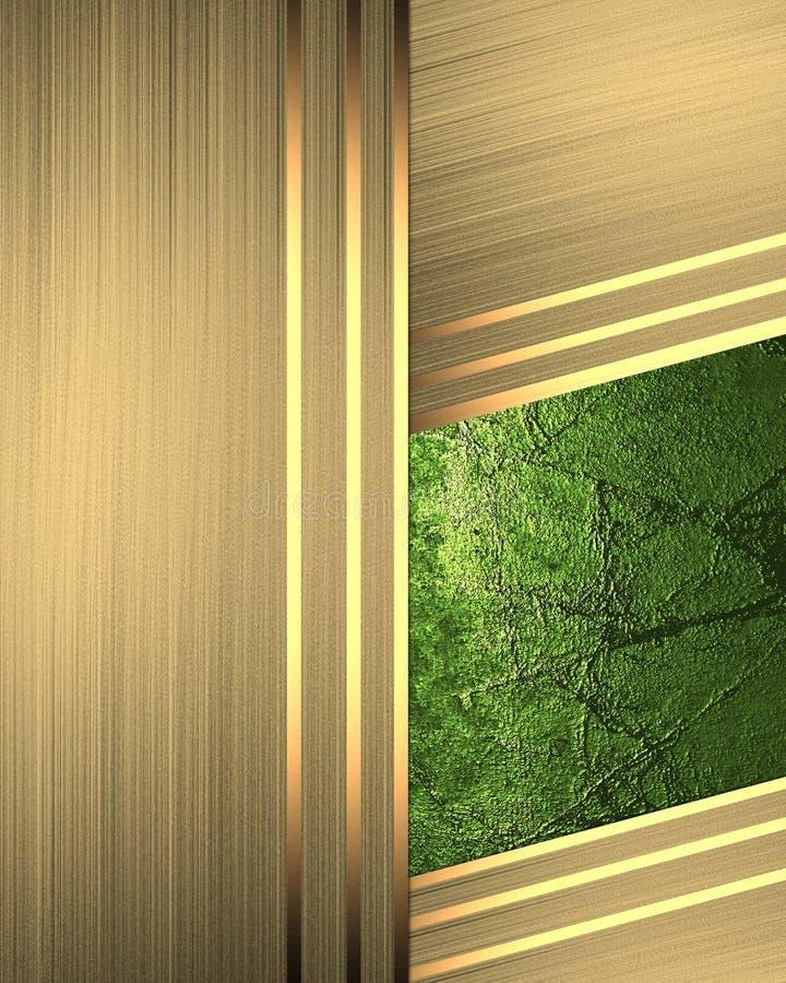 Αφηρημένο χρυσό υπόβαθρο με ένα πράσινο ένθετο Πρότυπο για το σχέδιο διάστημα αντιγράφων για το φυλλάδιο αγγελιών ή την πρόσκληση απεικόνιση αποθεμάτων