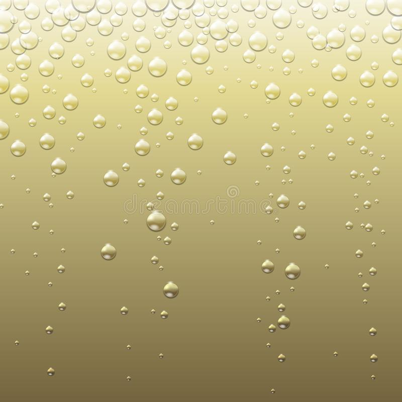 Αφηρημένο χρυσό υπόβαθρο σαμπάνιας με τις φυσαλίδες Αφηρημένη σύσταση CHAMPAGNE διανυσματική απεικόνιση