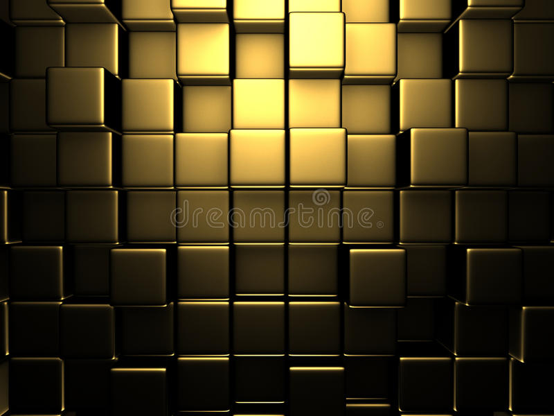 Αφηρημένο χρυσό υπόβαθρο τοίχων κύβων διανυσματική απεικόνιση
