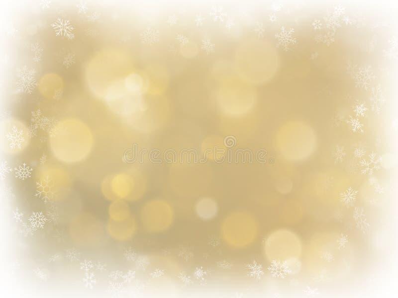 Αφηρημένο χρυσό υπόβαθρο Χριστουγέννων με το άσπρο διάστημα πλαισίων και αντιγράφων Χρυσό αφηρημένο υπόβαθρο πλέγματος Snowflakes ελεύθερη απεικόνιση δικαιώματος