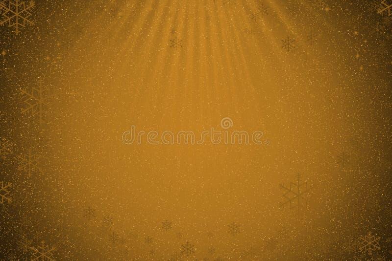 Αφηρημένο χρυσό υπόβαθρο Χριστουγέννων με το χιόνι, snowflakes και το λ ελεύθερη απεικόνιση δικαιώματος
