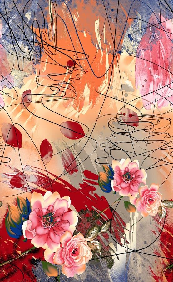 Αφηρημένο χρωματισμένο πετρέλαιο υπόβαθρο με τα μοναδικά λουλούδια ελεύθερη απεικόνιση δικαιώματος