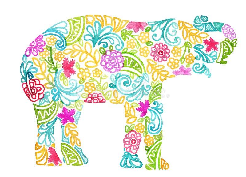 Αφηρημένο χρωματισμένο watercolor σχέδιο ελεφάντων στο άσπρο υπόβαθρο διανυσματική απεικόνιση