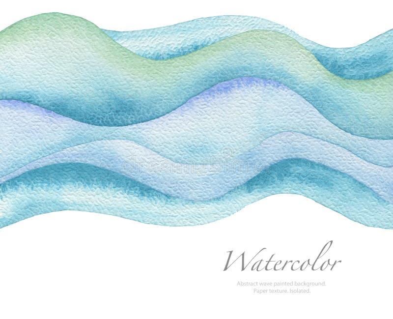 Αφηρημένο χρωματισμένο watercolor υπόβαθρο κυμάτων σύσταση εγγράφου στοκ εικόνα