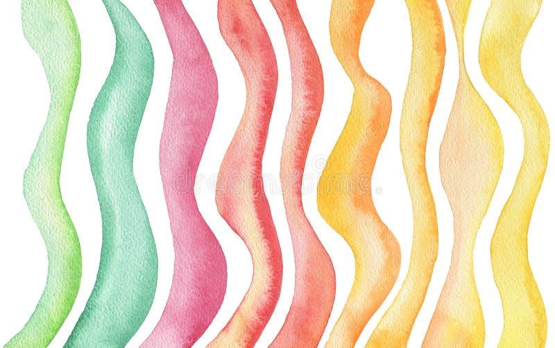Αφηρημένο χρωματισμένο watercolor υπόβαθρο κυμάτων σύσταση εγγράφου διανυσματική απεικόνιση