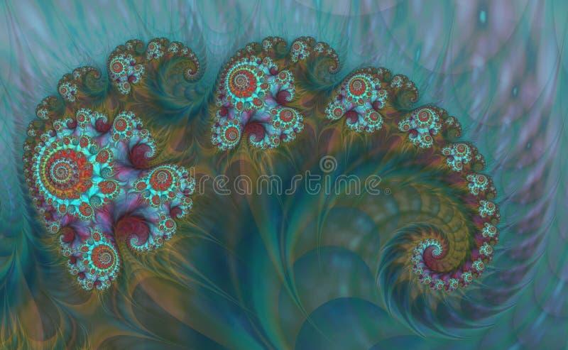 Αφηρημένο ψηφιακό έργο τέχνης Πρότυπα της φύσης Μαγικά κοχύλια διανυσματική απεικόνιση