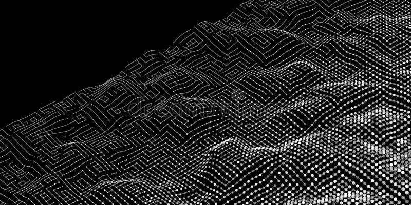 Αφηρημένο ψηφιακό κύμα θορύβου από το υπόβαθρο γραμμών και σημείων τεχνολογία απεικόνιση αποθεμάτων