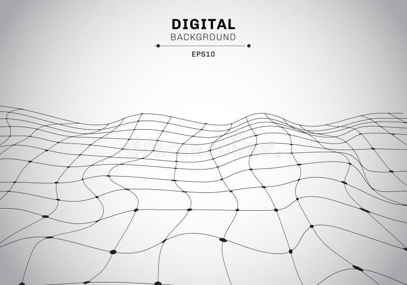 Αφηρημένο ψηφιακό τεχνολογίας μαύρο άσπρο υπόβαθρο τοπίων wireframe polygonal Συνδεδεμένα γραμμές και σημεία φουτουριστικές διανυσματική απεικόνιση