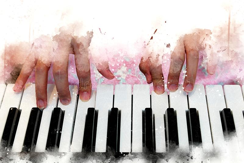 Αφηρημένο όμορφο πληκτρολόγιο παιχνιδιού χεριών του πιάνου στοκ φωτογραφία