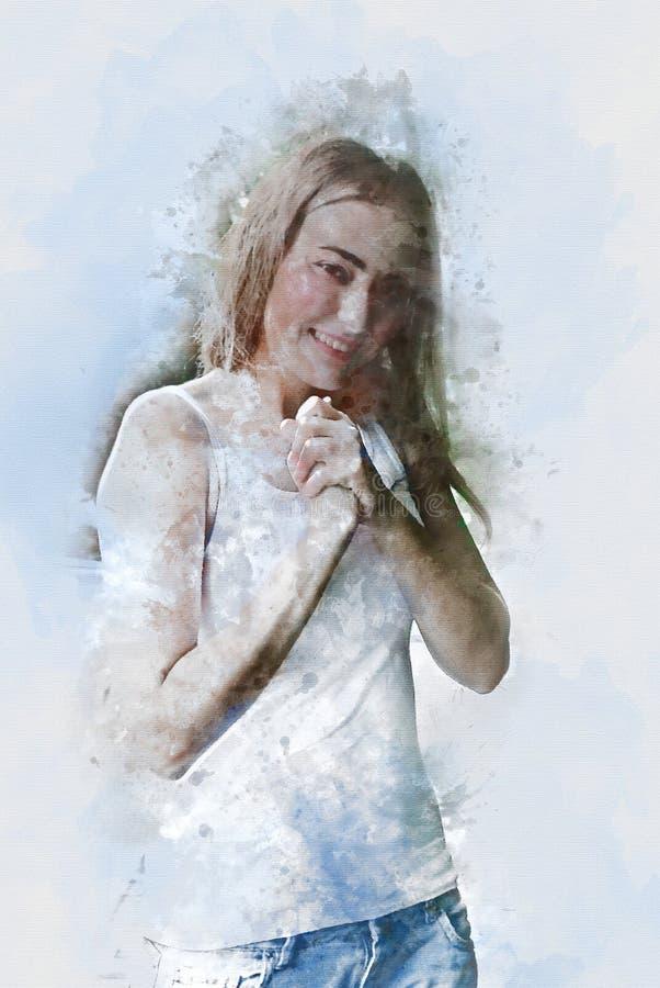 Αφηρημένο όμορφο σώμα γυναικών προκλητικό και watercolor χαμόγελου στοκ εικόνες
