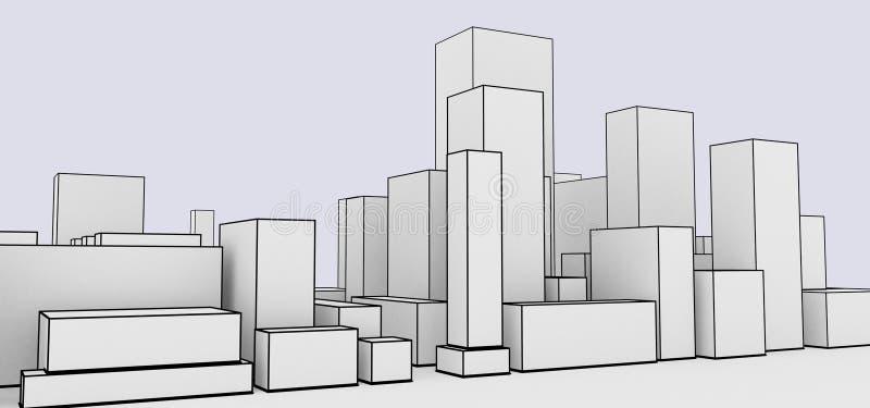 Αφηρημένο ύφος κινούμενων σχεδίων εικονικής παράστασης πόλης απεικόνιση αποθεμάτων