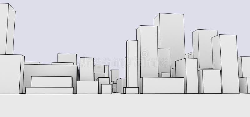 Αφηρημένο ύφος κινούμενων σχεδίων εικονικής παράστασης πόλης ελεύθερη απεικόνιση δικαιώματος