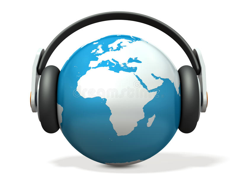 Αφηρημένο 3DCG αντιπροσωπεύοντας την παγκόσμια μουσική ελεύθερη απεικόνιση δικαιώματος