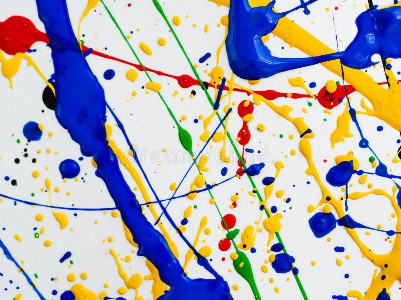 Αφηρημένο expressionism δημιουργικό υπόβαθρο τέχνης τέχνη των παφλασμών και των σταλαγματιών κόκκινο μαύρο πράσινο κίτρινο μπλε χ στοκ φωτογραφία με δικαίωμα ελεύθερης χρήσης