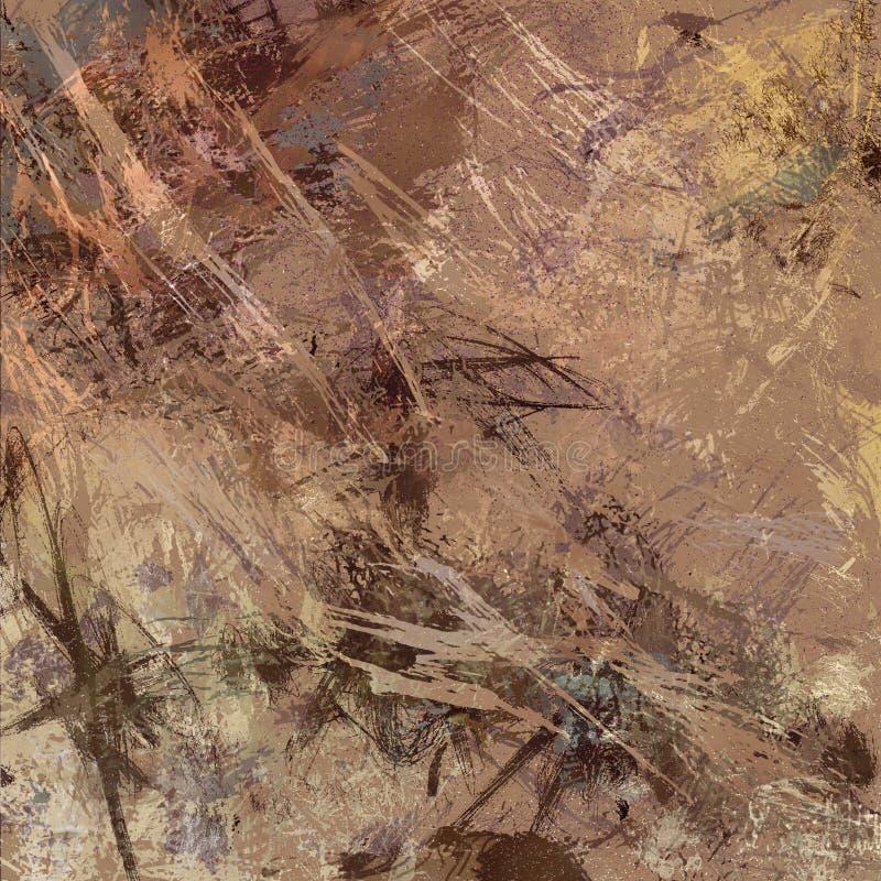 Αφηρημένο expressionism σχέδιο σύγχρονης τέχνης στα καφετιά και μπεζ χρώματα στοκ εικόνες με δικαίωμα ελεύθερης χρήσης
