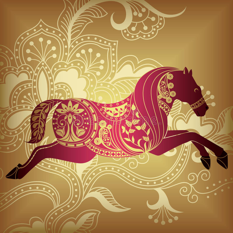 αφηρημένο floral άλογο ελεύθερη απεικόνιση δικαιώματος