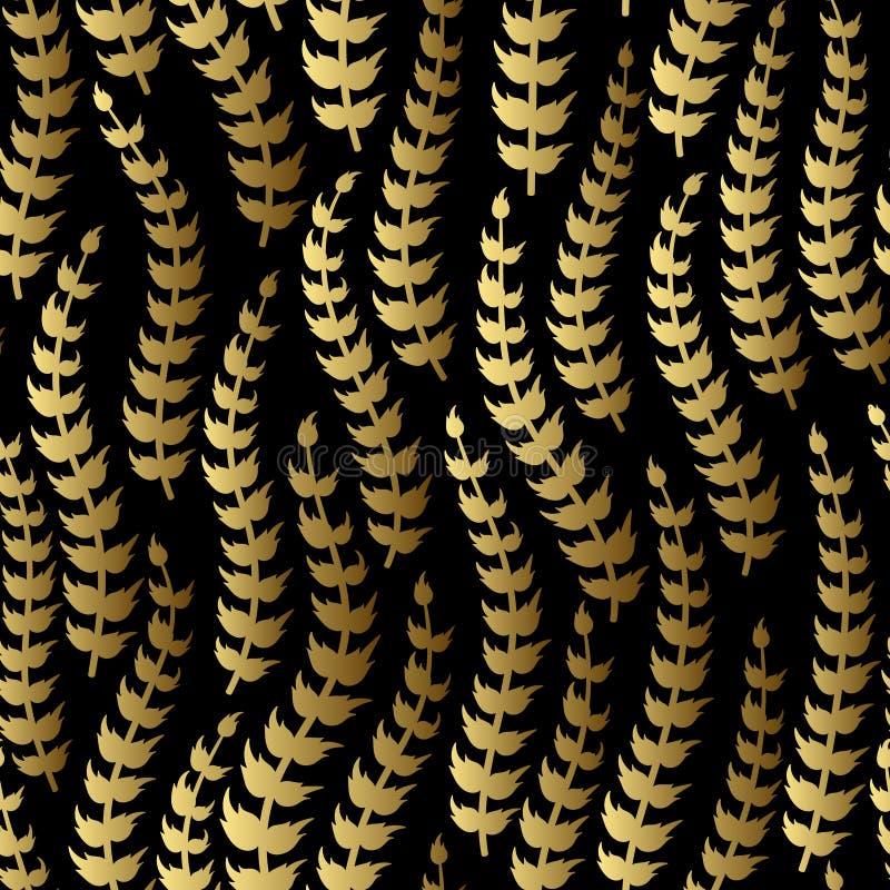 αφηρημένο floral άνευ ραφής διάνυσμα προτύπων Χρυσός κλάδος στο μαύρο υπόβαθρο διανυσματική απεικόνιση