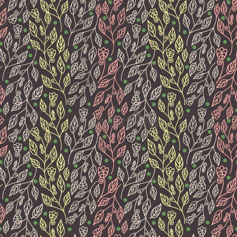Αφηρημένο floral άνευ ραφής σχέδιο με τα ζωηρόχρωμα φύλλα και τα όμορφα λουλούδια στο καφετί υπόβαθρο διανυσματική απεικόνιση