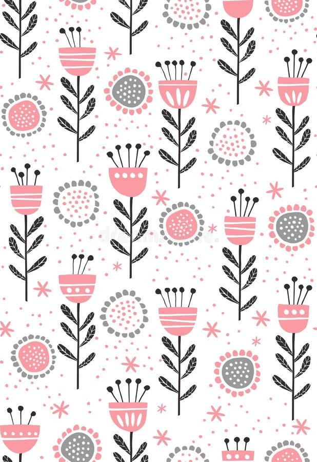 Αφηρημένο floral διανυσματικό σχέδιο Χαριτωμένοι ρόδινοι και γκρίζοι λουλούδια και κλαδίσκοι Παιδικό σχέδιο σε ένα άσπρο υπόβαθρο διανυσματική απεικόνιση