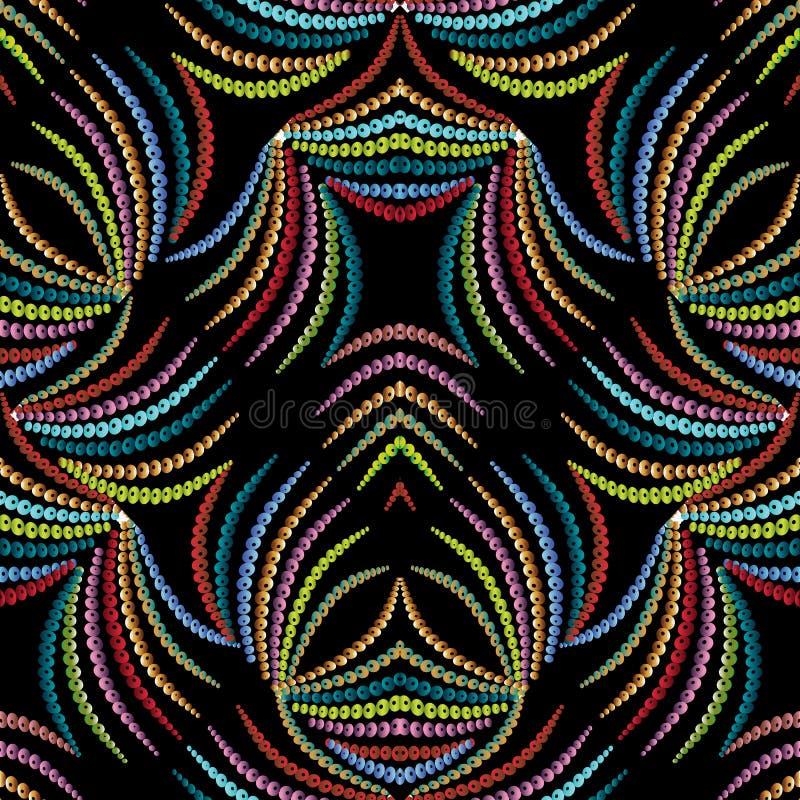 Αφηρημένο floral ζωηρόχρωμο άνευ ραφής σχέδιο Μαύρο διανυσματικό backgrou διανυσματική απεικόνιση