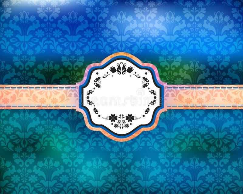 Αφηρημένο floral διακοσμητικό υπόβαθρο με το έμβλημα ελεύθερη απεικόνιση δικαιώματος