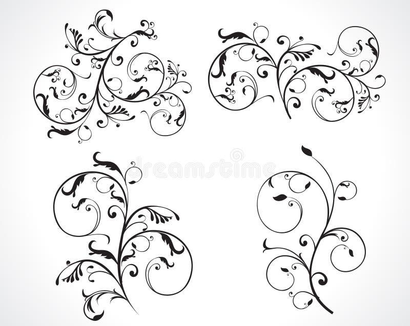 αφηρημένο floral σύνολο σχεδίο απεικόνιση αποθεμάτων