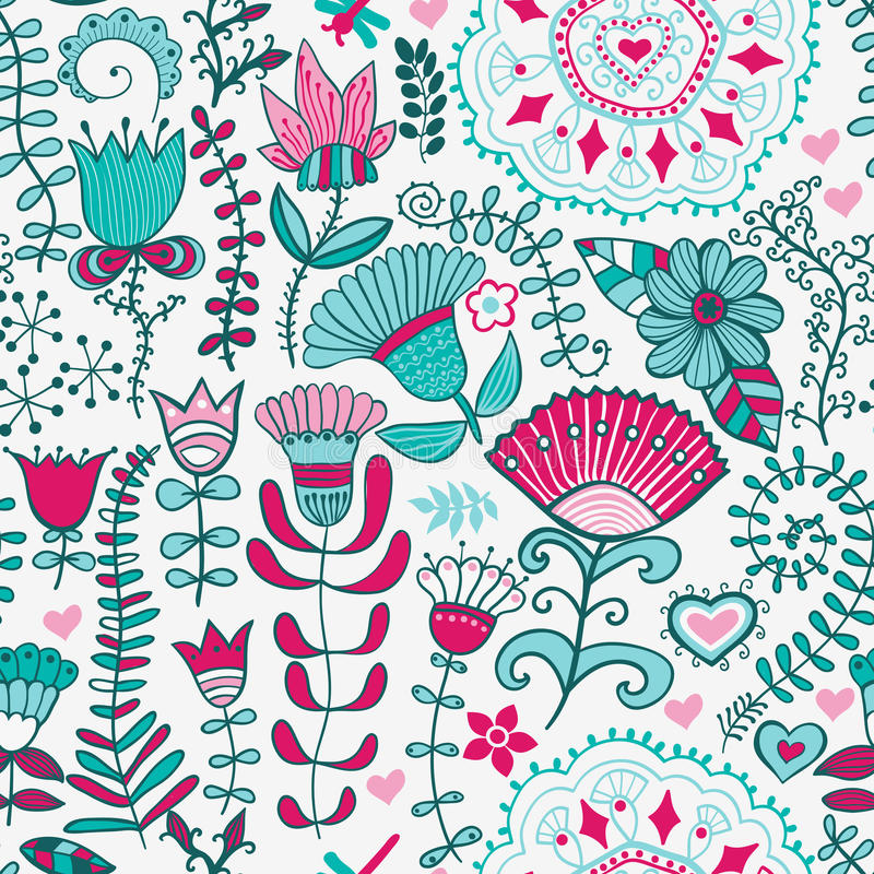Αφηρημένο floral υπόβαθρο, άνευ ραφής σχέδιο θερινού θέματος, wallp διανυσματική απεικόνιση