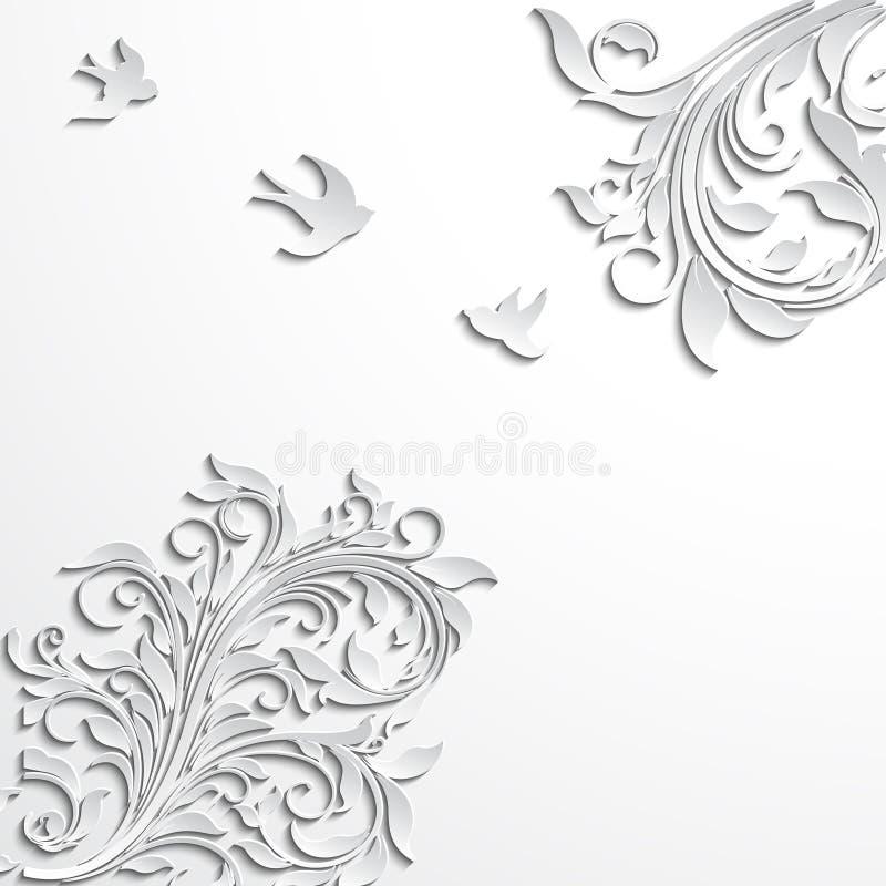 Αφηρημένο floral υπόβαθρο με τα λουλούδια και τα πουλιά εγγράφου ελεύθερη απεικόνιση δικαιώματος