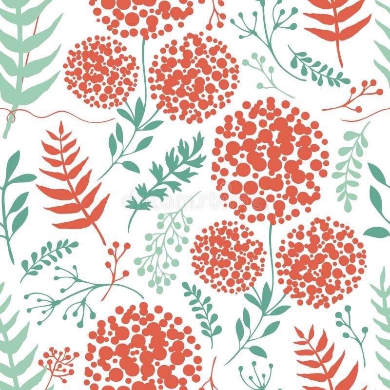 Αφηρημένο floral υπόβαθρο με τα πράσινα και κόκκινα φύλλα φτερών ελεύθερη απεικόνιση δικαιώματος