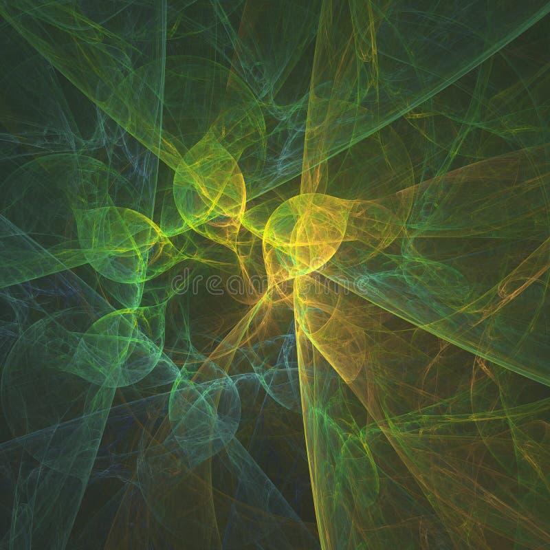 Αφηρημένο fractal σύστασης των πράσινων και κίτρινων γραμμών και του λουλουδιού απεικόνιση αποθεμάτων