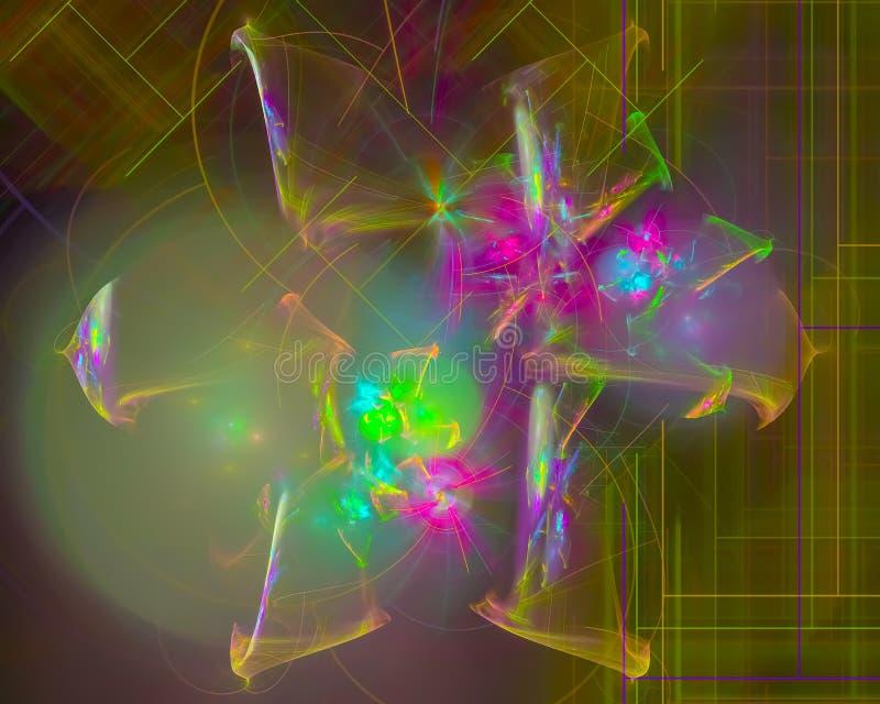 Αφηρημένο fractal, χαμηλή μοντέρνη παράξενη φουτουριστική φαντασία σχεδίου, disco, κόμμα διανυσματική απεικόνιση