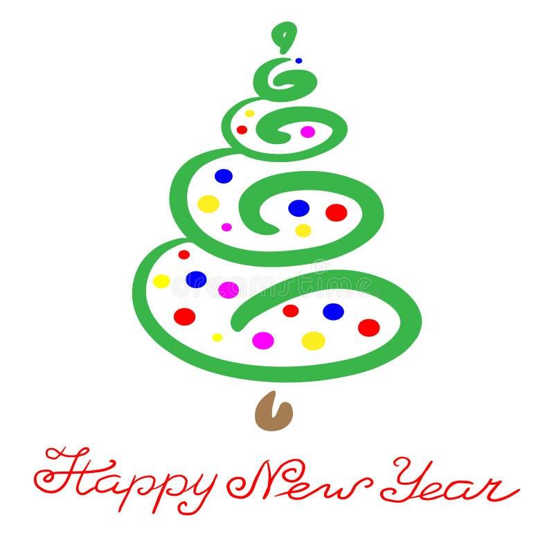 Αφηρημένο hand-drawn πράσινο χριστουγεννιάτικο δέντρο με τις πολύχρωμες σφαίρες Φράση εγγραφής: Καλή χρονιά Απομονωμένο illustrat απεικόνιση αποθεμάτων