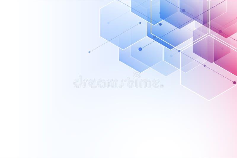 αφηρημένο hexagon ανασκόπησης Polygonal σχέδιο τεχνολογίας Ψηφιακός φουτουριστικός μινιμαλισμός απεικόνιση αποθεμάτων