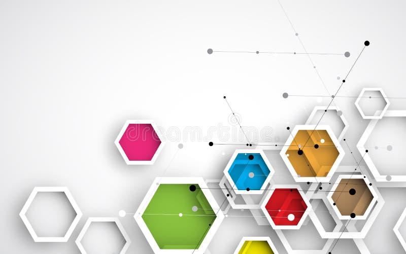 αφηρημένο hexagon ανασκόπησης Polygonal σχέδιο τεχνολογίας διανυσματική απεικόνιση