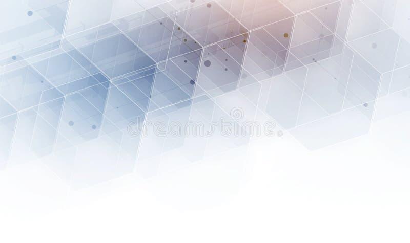 αφηρημένο hexagon ανασκόπησης Polygonal σχέδιο τεχνολογίας Digita απεικόνιση αποθεμάτων