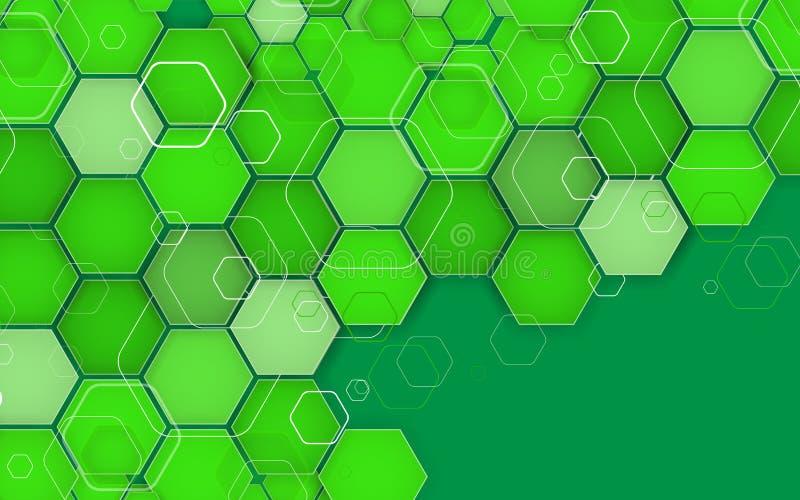 Αφηρημένο Hexagon γεωμετρικό πράσινο υπόβαθρο διάνυσμα απεικόνιση αποθεμάτων