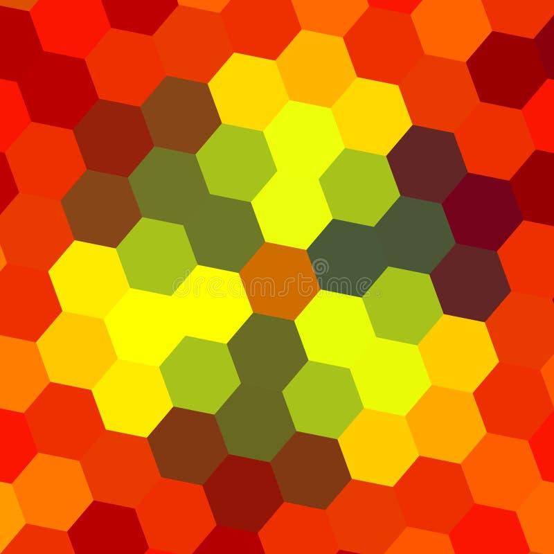 Αφηρημένο Hexagon σχέδιο - πορτοκαλί υπόβαθρο διανυσματική απεικόνιση