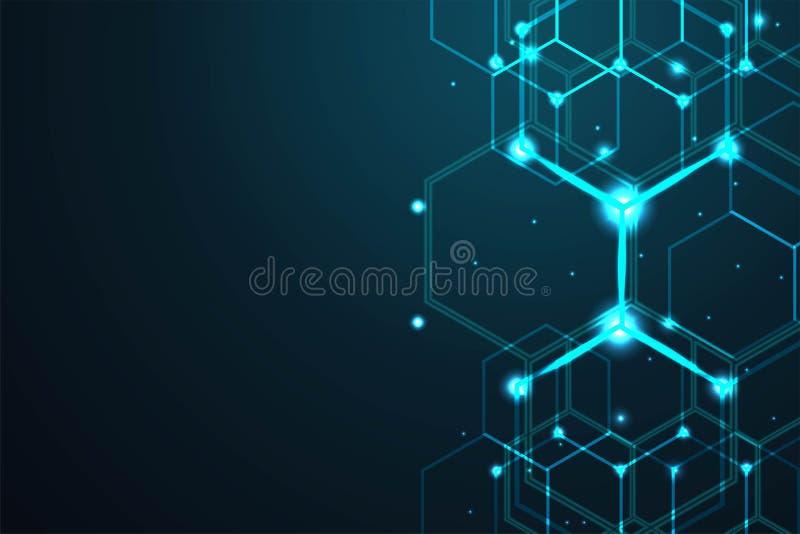 Αφηρημένο hexagon υπόβαθρο, polygonal έννοια τεχνολογίας, διανυσματική απεικόνιση απεικόνιση αποθεμάτων