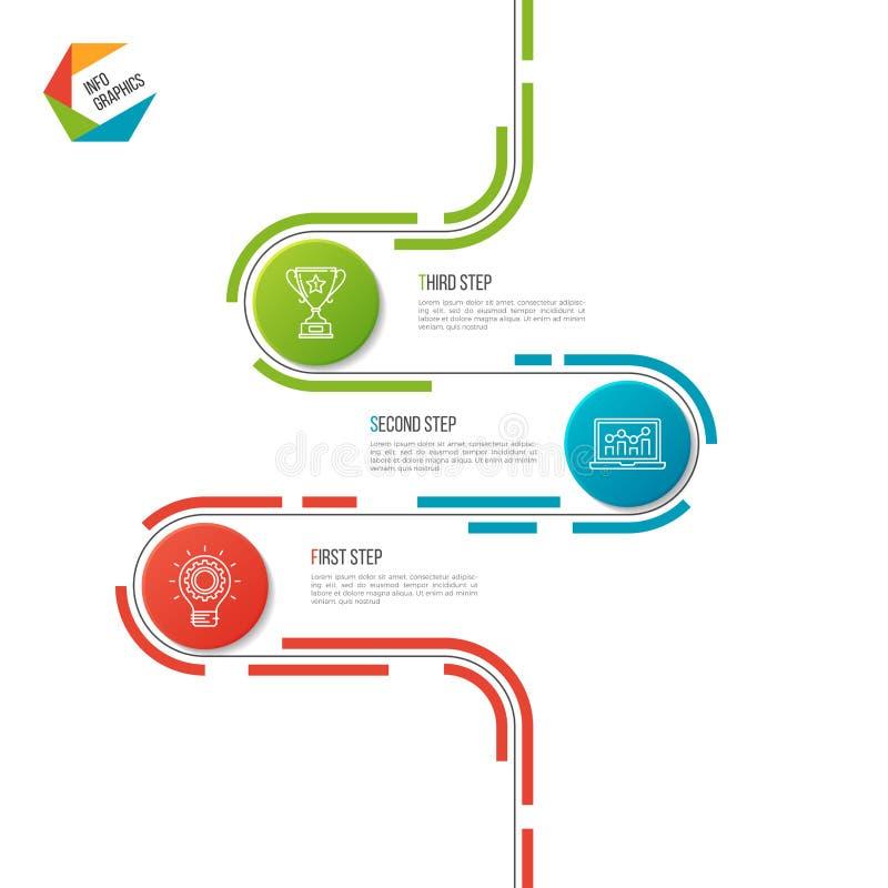 Αφηρημένο infographic πρότυπο οδικής υπόδειξης ως προς το χρόνο 3 βημάτων διανυσματική απεικόνιση
