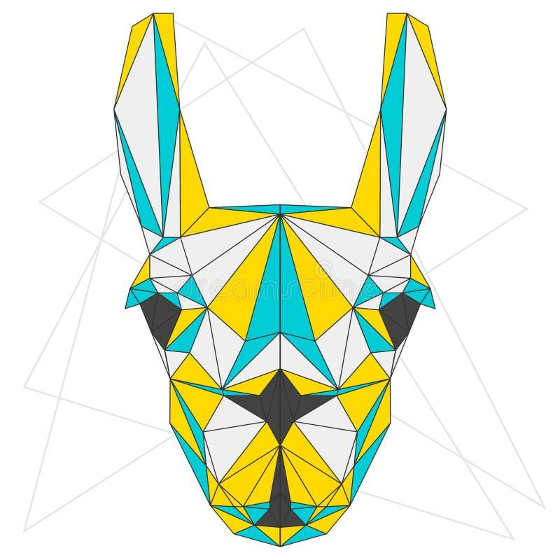 Αφηρημένο llama το μπλε, κίτρινος και το γκρι συνδύασαν το χρωματισμένο polygonal γεωμετρικό πορτρέτο τριγώνων στο άσπρο υπόβαθρο ελεύθερη απεικόνιση δικαιώματος