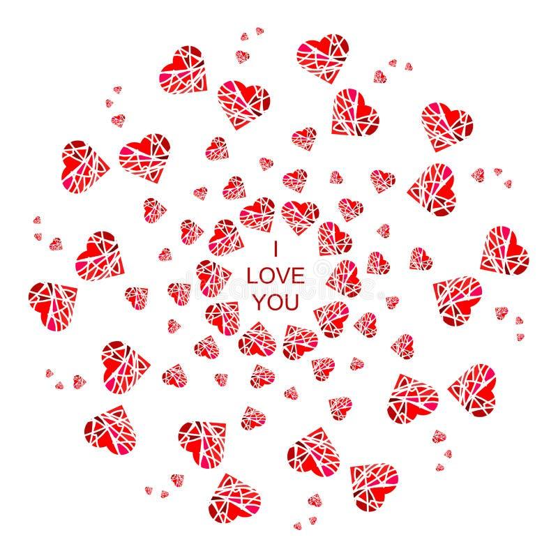 Αφηρημένο mandala με τις καρδιές για τις κάρτες, τα διακριτικά και το γ εικόνων απεικόνιση αποθεμάτων