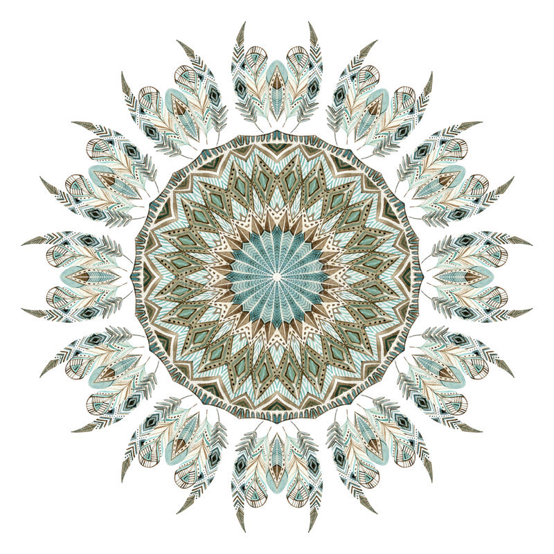 Αφηρημένο mandala φτερών Watercolor εθνικό ελεύθερη απεικόνιση δικαιώματος