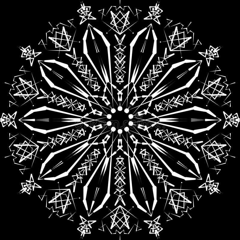 αφηρημένο mandala Ψηφιακό σχέδιο με τις φοβιτσιάρεις γραμμές στοκ εικόνα