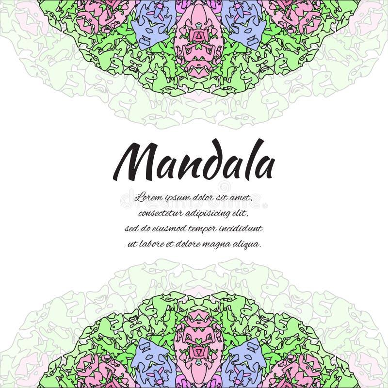 αφηρημένο mandala Floral διακοσμητικά σύνορα Στρογγυλό σχέδιο, ασιατικό ύφος απεικόνιση αποθεμάτων