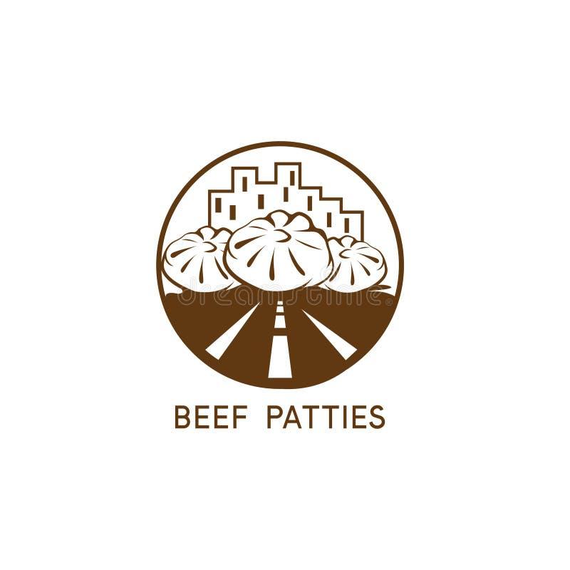 Αφηρημένο patties βόειου κρέατος αστικό διανυσματικό σχέδιο εστιατορίων διανυσματική απεικόνιση