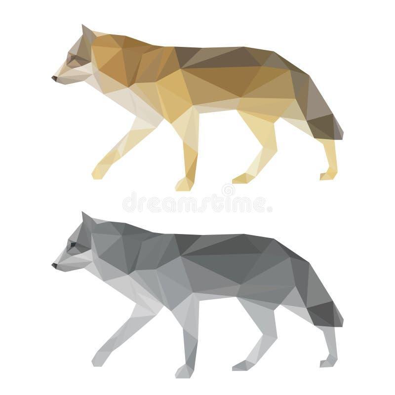 Αφηρημένο polygonal γεωμετρικό σύνολο λύκων τριγώνων που απομονώνεται στο άσπρο υπόβαθρο για τη χρήση στο σχέδιο διανυσματική απεικόνιση